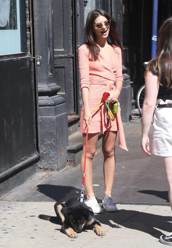 Emily Ratajkowski in a Pink Dress