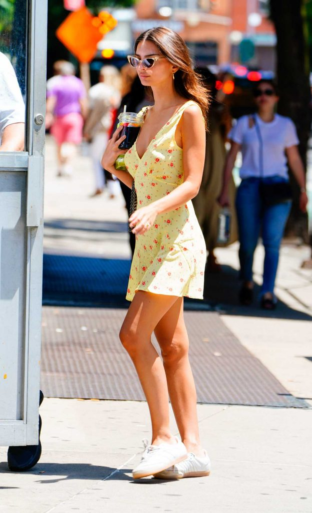 Emily Ratajkowski in a Yellow Summer Dress