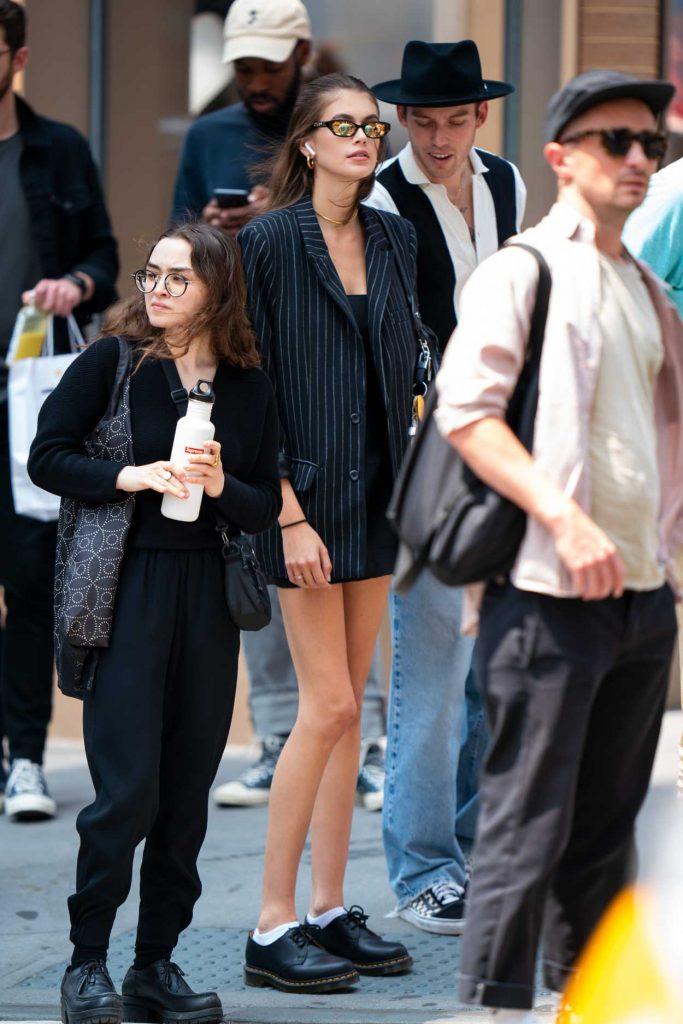 Kaia Gerber in a Black Striped Blazer