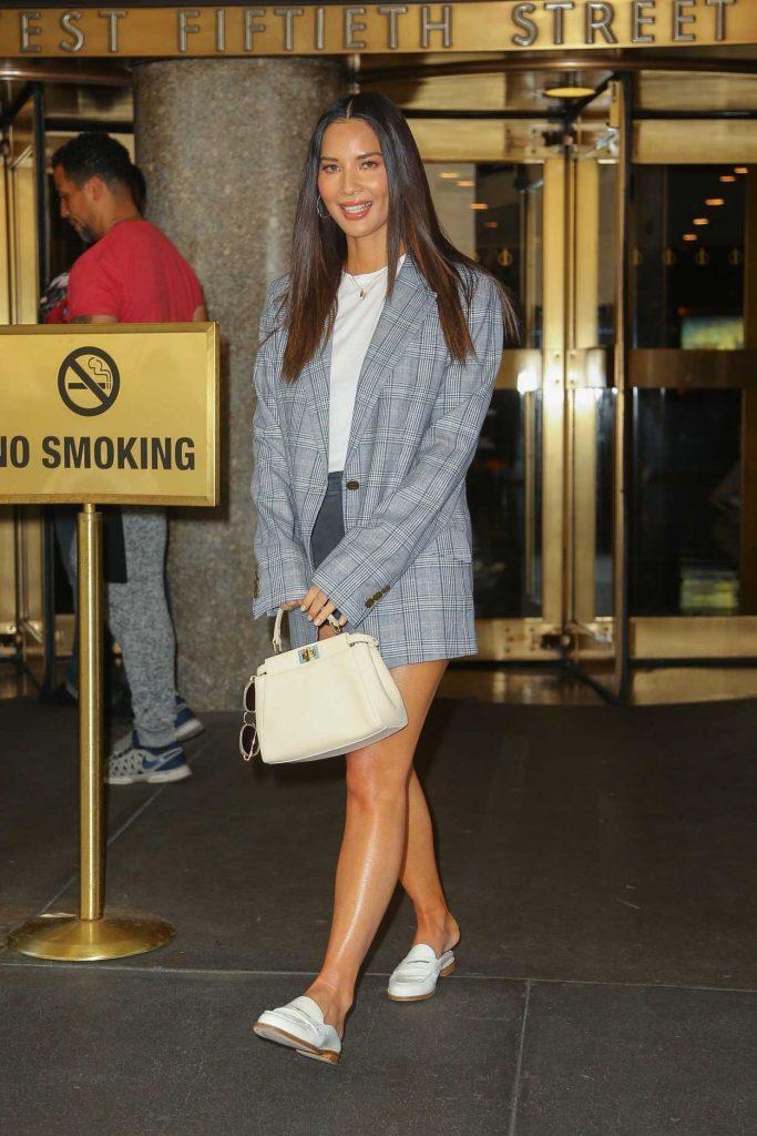 Olivia Munn in a Gray Blazer