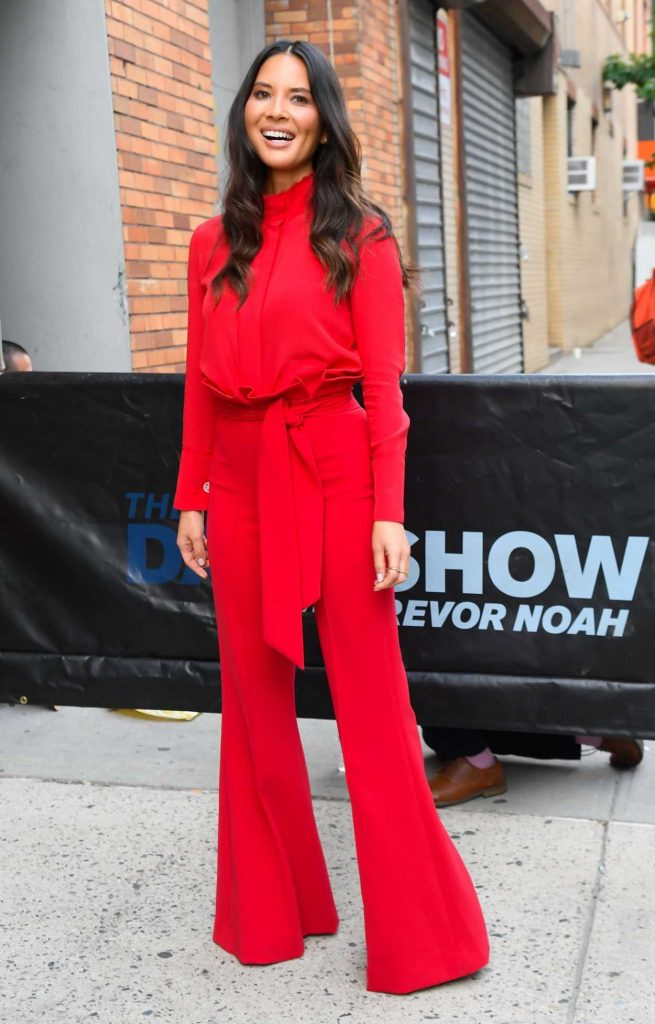 Olivia Munn in a Red Suit