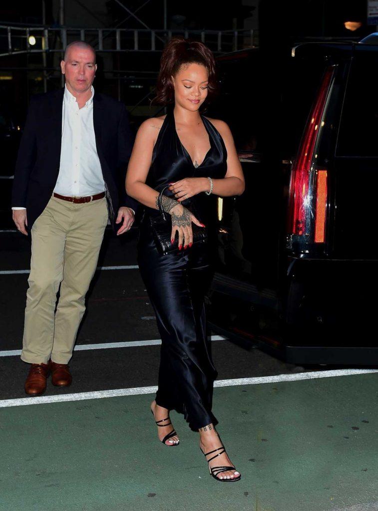 Rihanna in a Silky Black Dress
