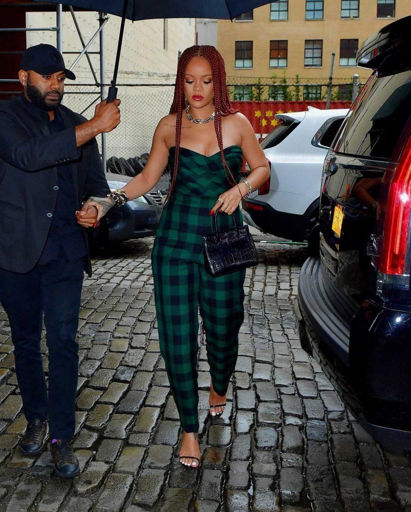 Rihanna in Plaid Jumpsuit