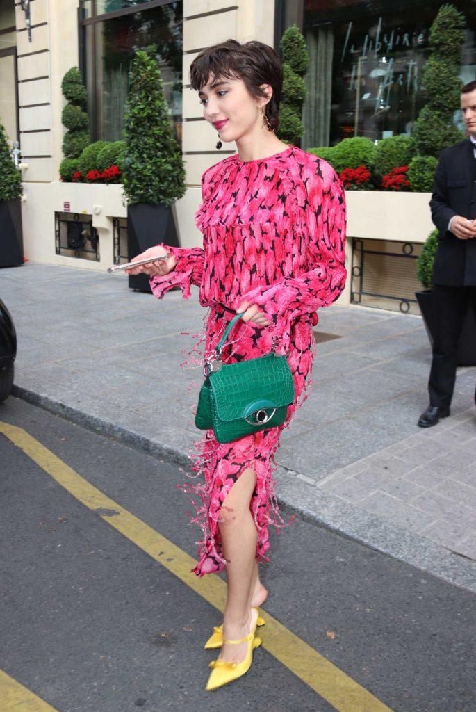 Rowan Blanchard in a Pink Dress