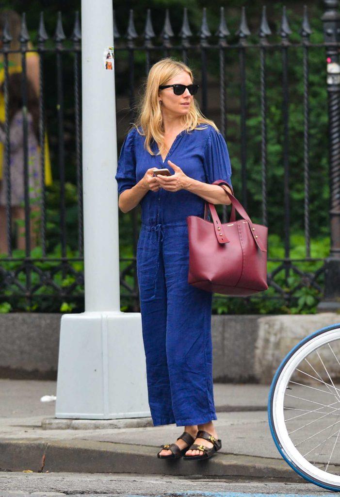 Sienna Miller in a Blue Jumpsuit