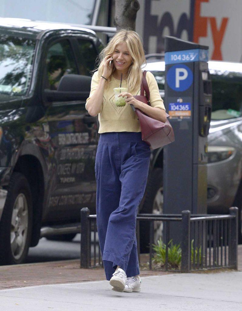 Sienna Miller in a Blue Pants