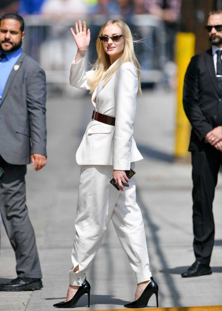 Sophie Turner in a White Suit