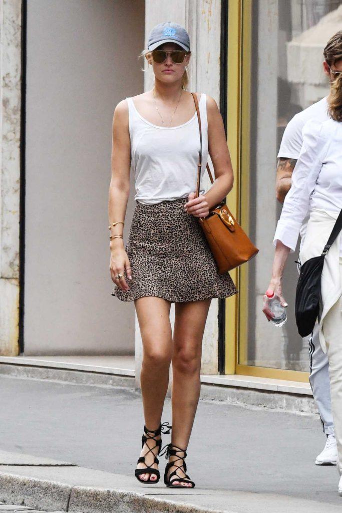 Toni Garrn in a Leopard Print Skirt