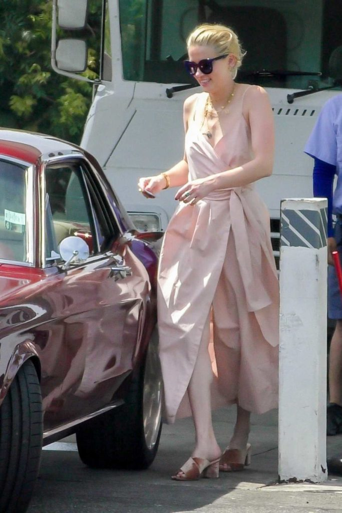 Amber Heard in a Pink Dress