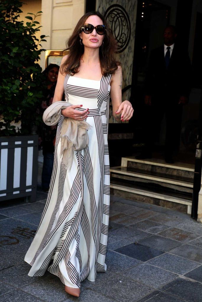 Angelina Jolie in a White Striped Dress