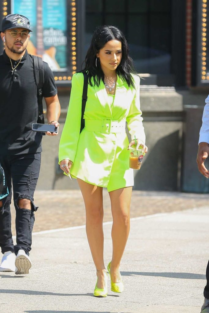 Becky G in a Neon Green Outfit