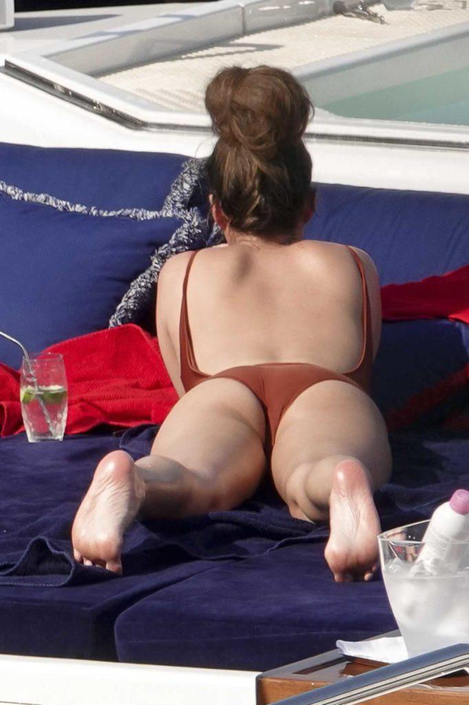 chrissy teigen in a red swimsuit on a yacht in portofino 07  03  2019  u2013 celebsla com