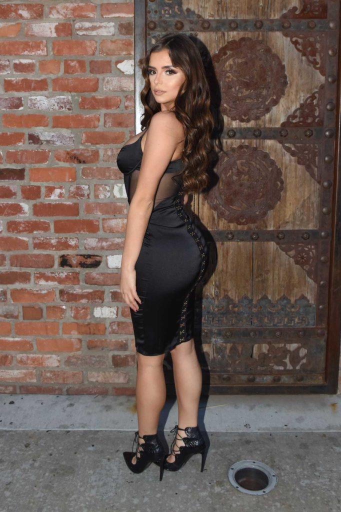 Demi Rose in a Short Black Dress