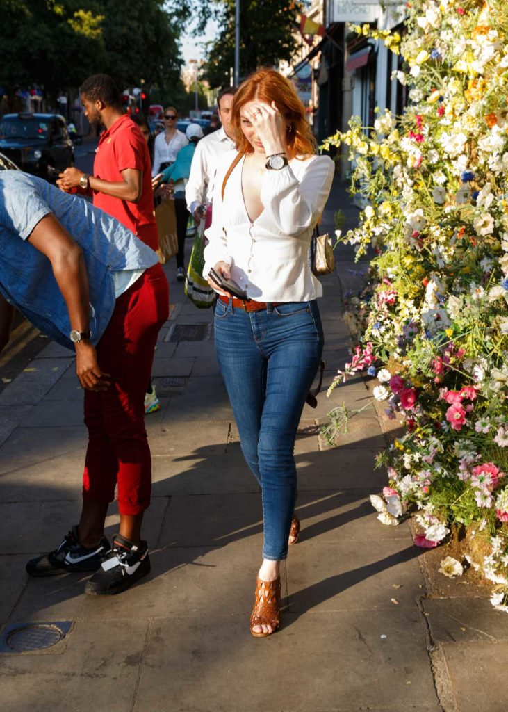 Eleanor Tomlinson in a White Blouse