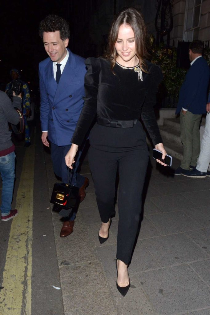 Felicity Jones in a Black Blouse