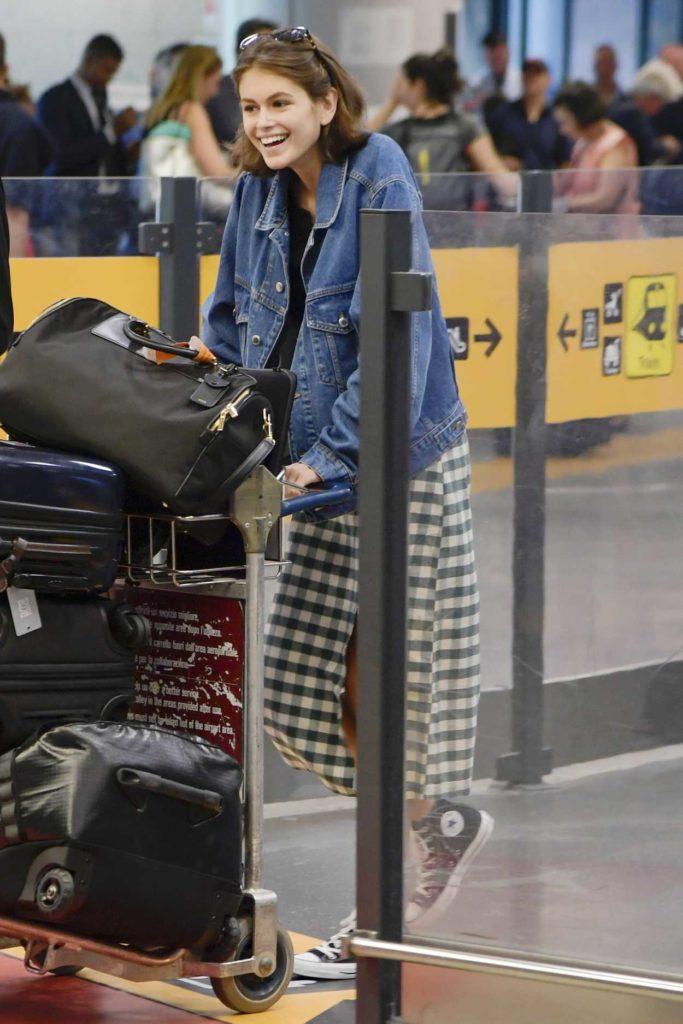 Kaia Gerber in a Blue Denim Jacket