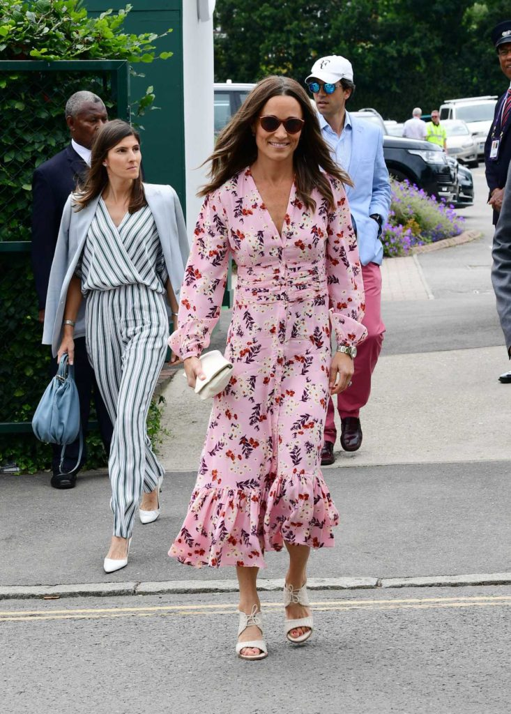 Pippa Middleton in a Pink Floral Dress