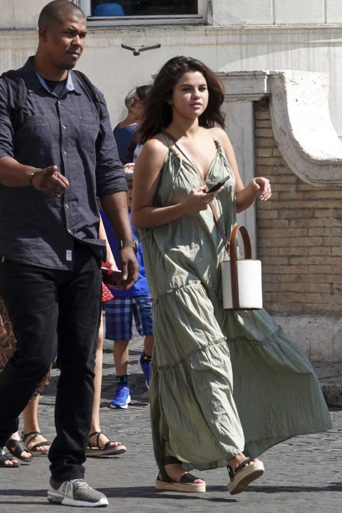 Selena Gomez in a Green Sundress