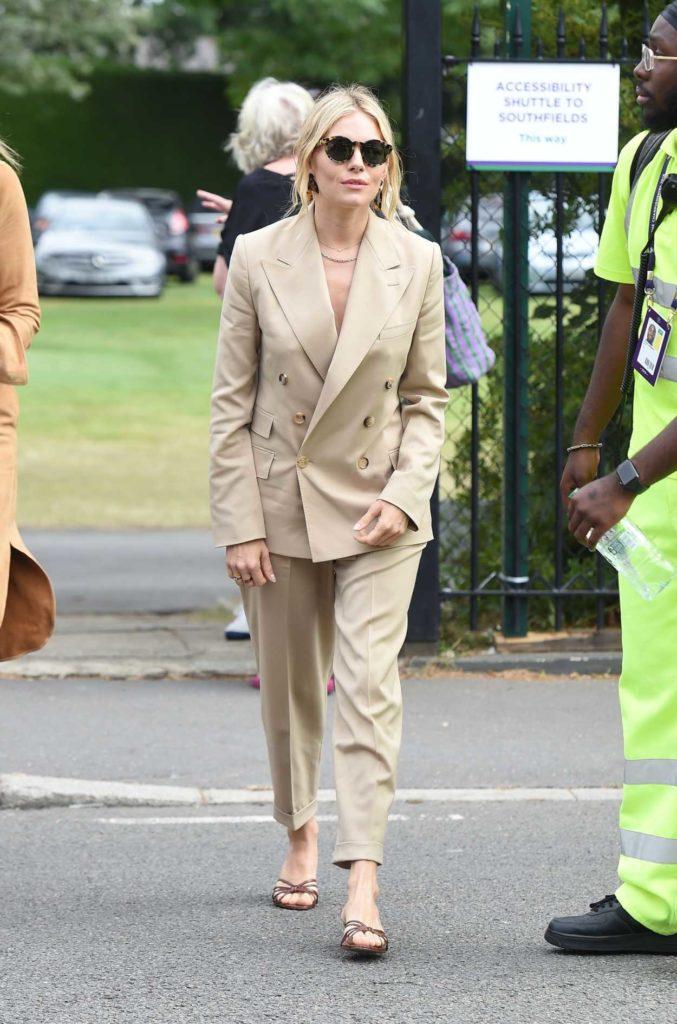 Sienna Miller in a Beige Suit