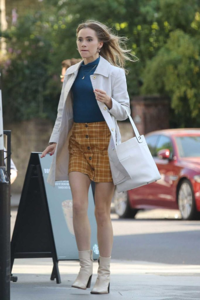 Suki Waterhouse in a Yellow Plaid Skirt