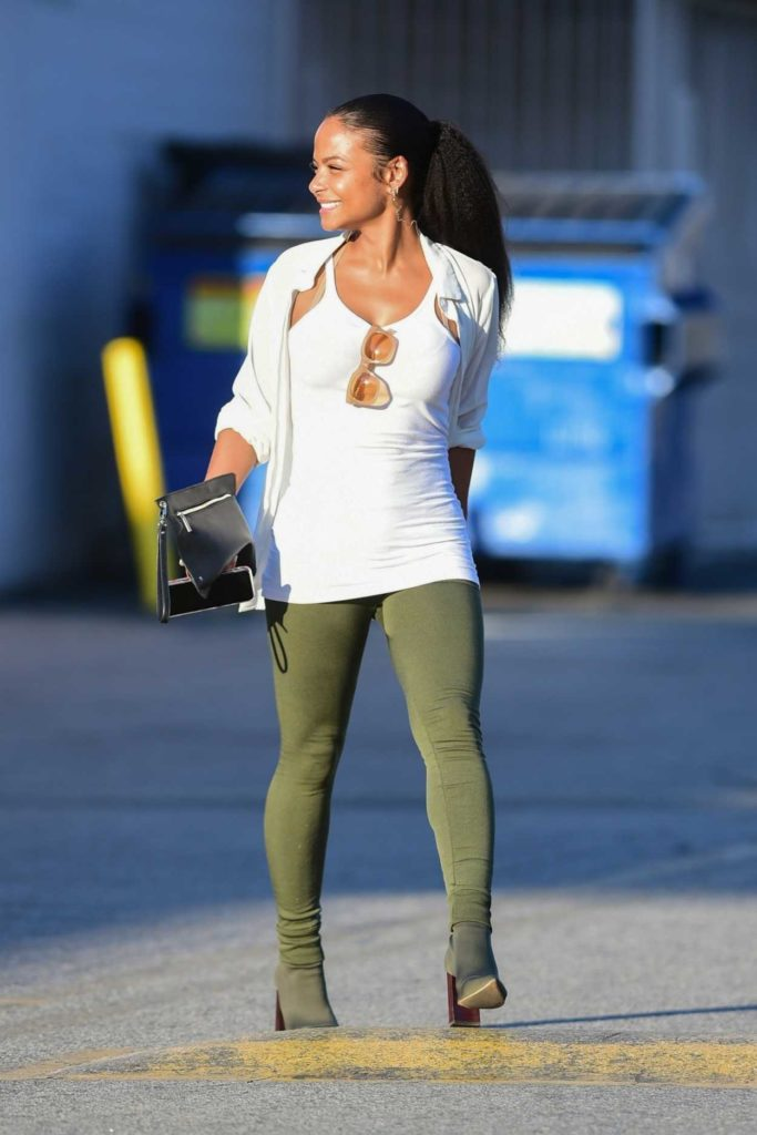 Christina Milian in a Green Leggings