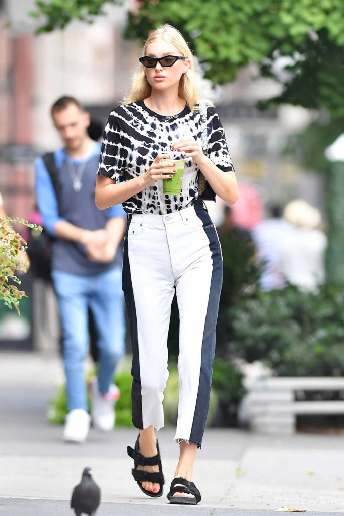 Elsa Hosk in a White and Black Jeans