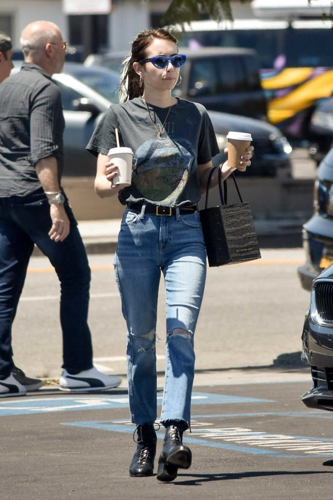 Emma Roberts in a Gray Tee