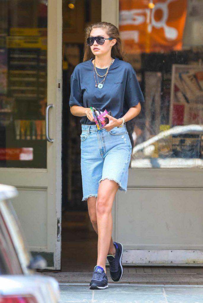 Gigi Hadid in a Blue Denim Shorts