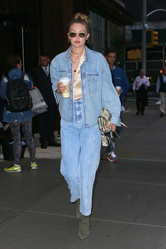 Gigi Hadid in a Blue Denim Suit