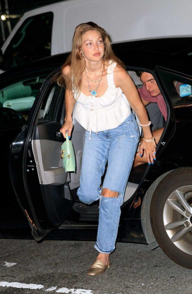 Gigi Hadid in a White Blouse