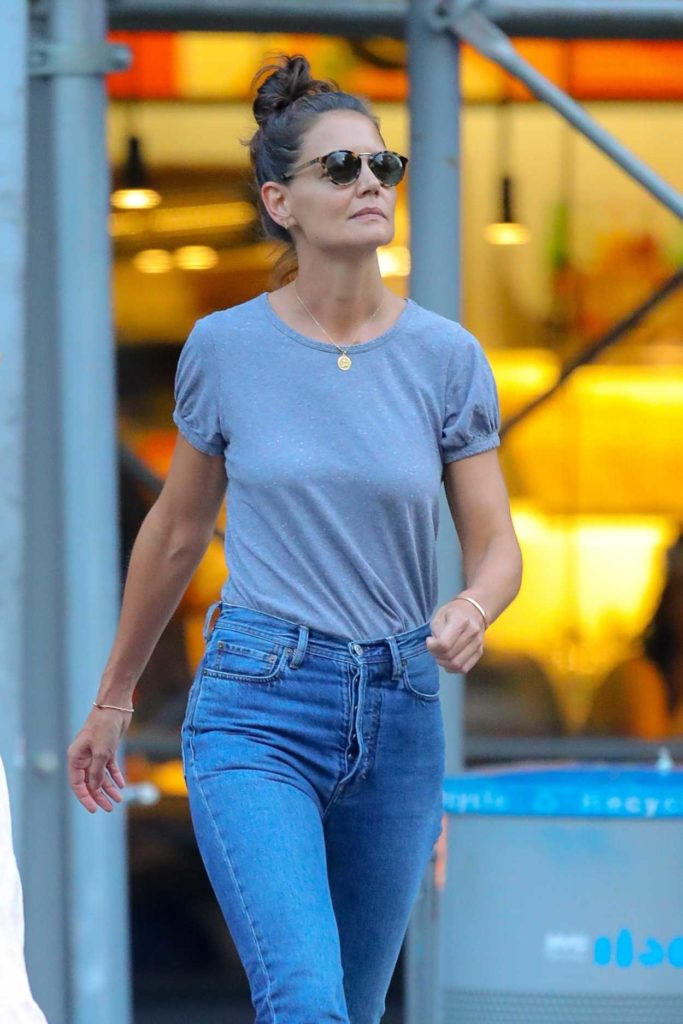 Katie Holmes in a Gray Tee