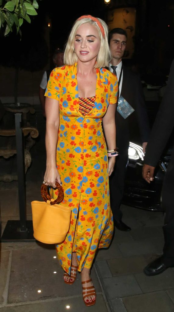 Katy Perry in a Yellow Floral Dress
