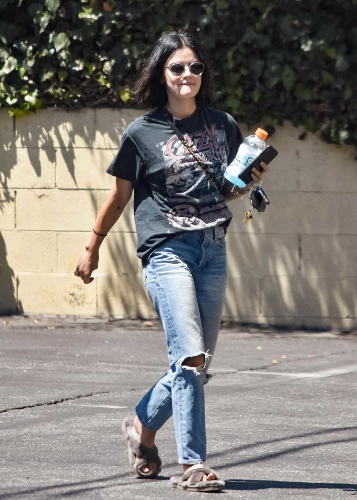 Lucy Hale in a Black Tee