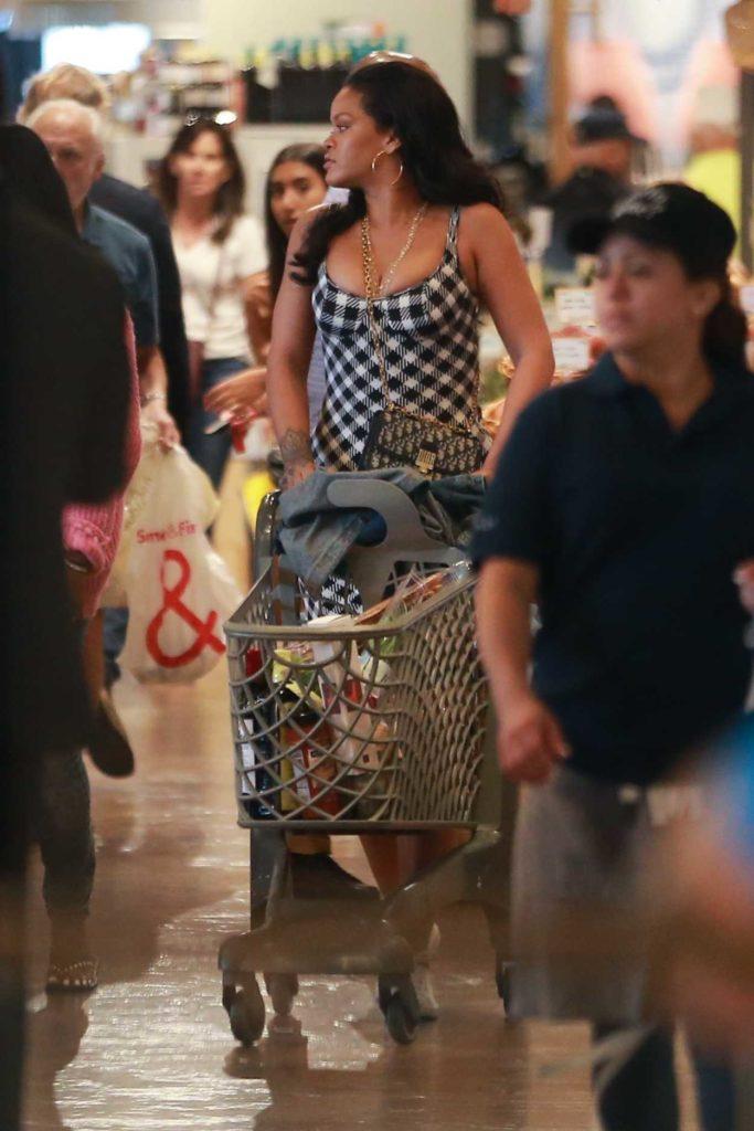 Rihanna in a Gray Plaid Dress