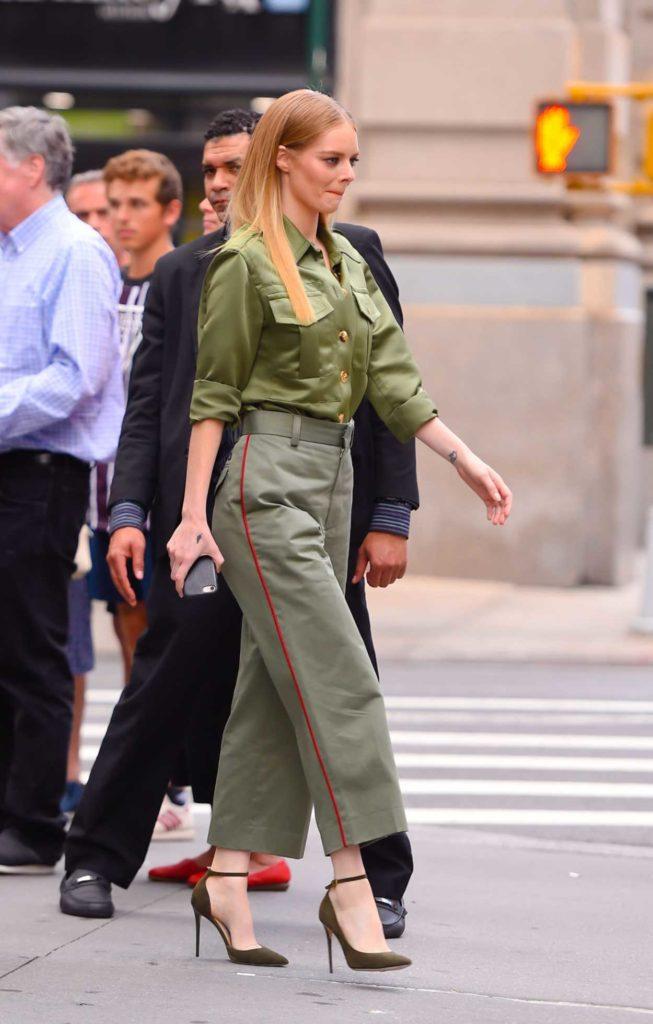 Samara Weaving in a Green Suit