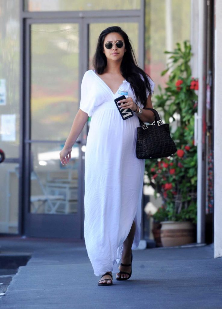Shay Mitchell in a White Dress