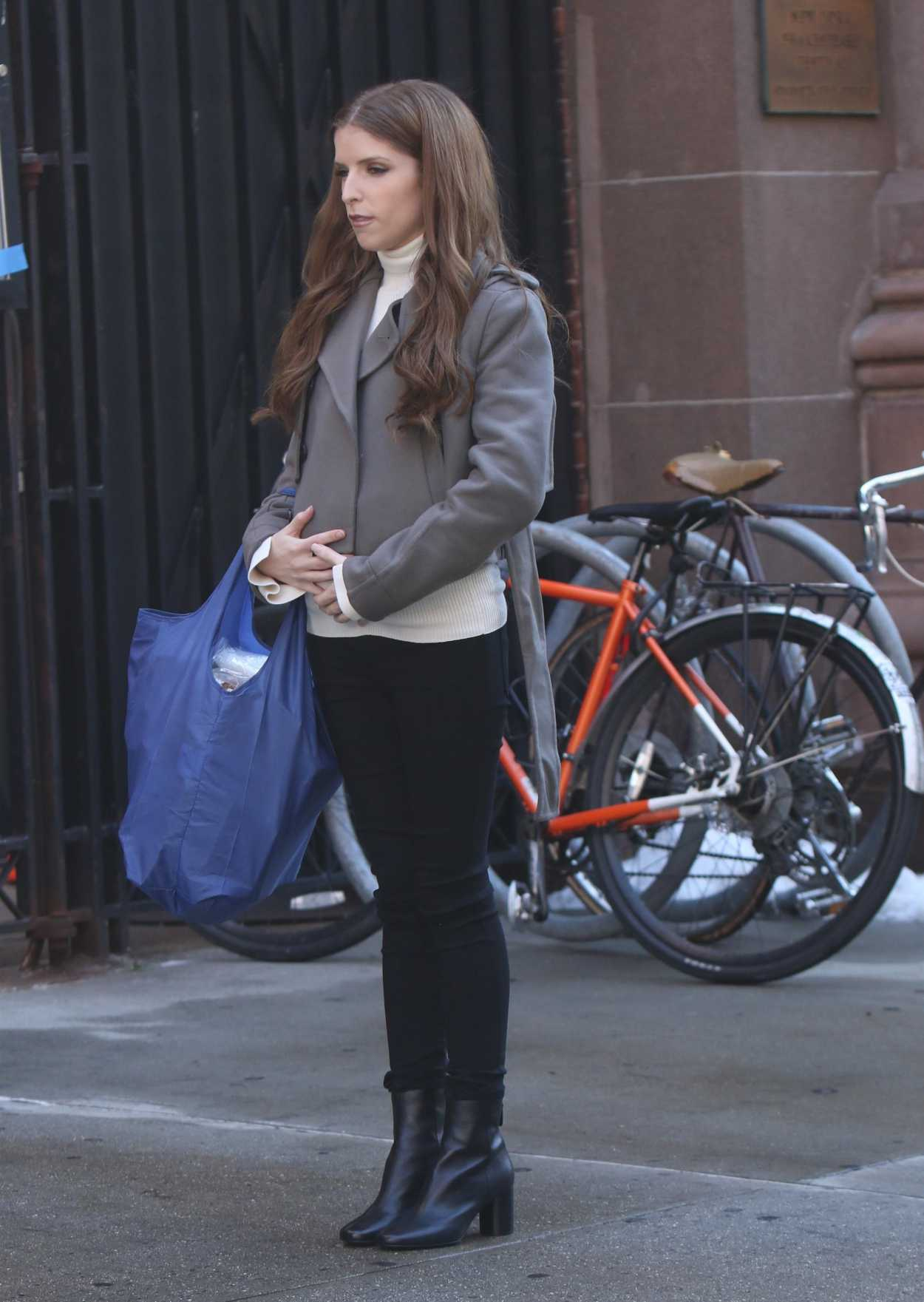 Anna Kendrick In A Gray Jacket On The Set Of Love Life