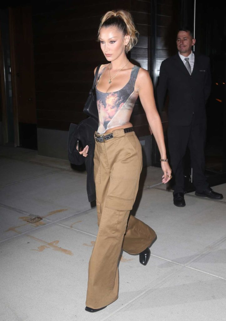 Bella Hadid in a Beige Pants
