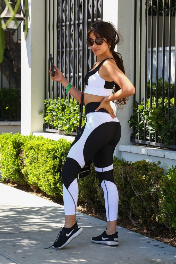 Camila Cabello in a Black and White Workout Clothes