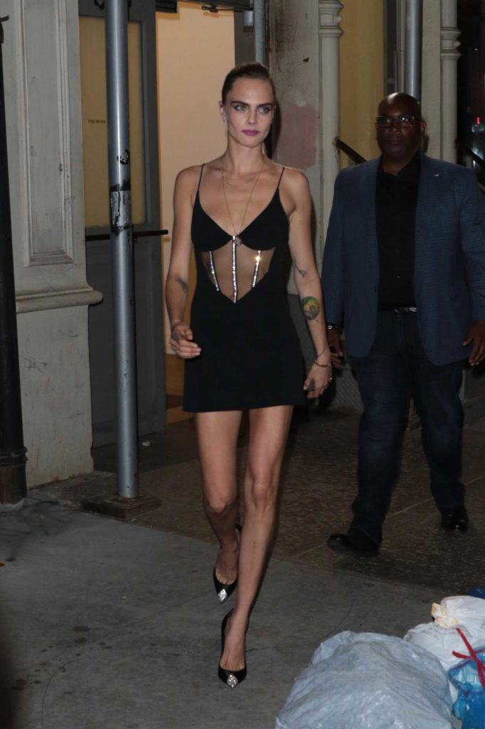 Cara Delevingne in a Black Dress