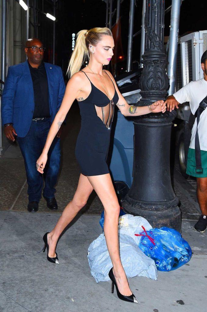 Cara Delevingne in a Black Dress