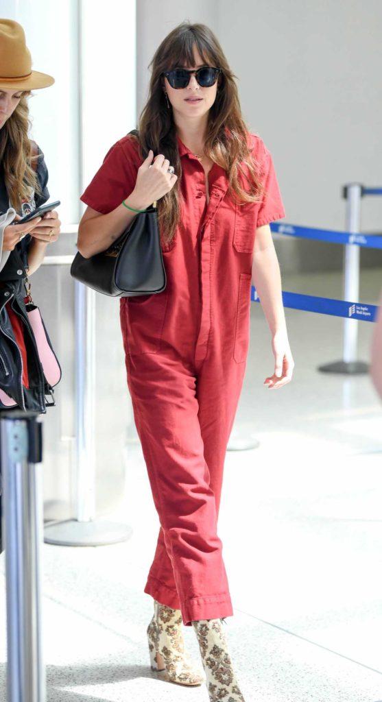 Dakota Johnson in a Red Jumpsuit