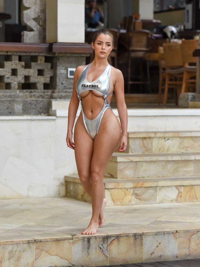 Demi Rose in a Silver Bikini
