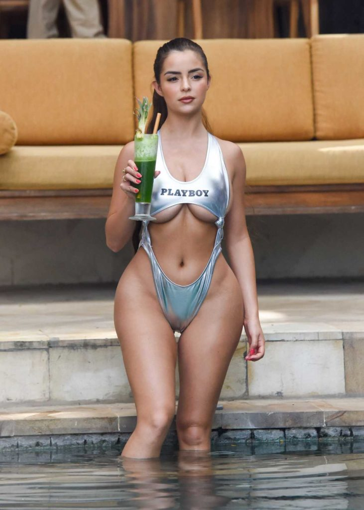 Demi Rose in a Silver Bikini