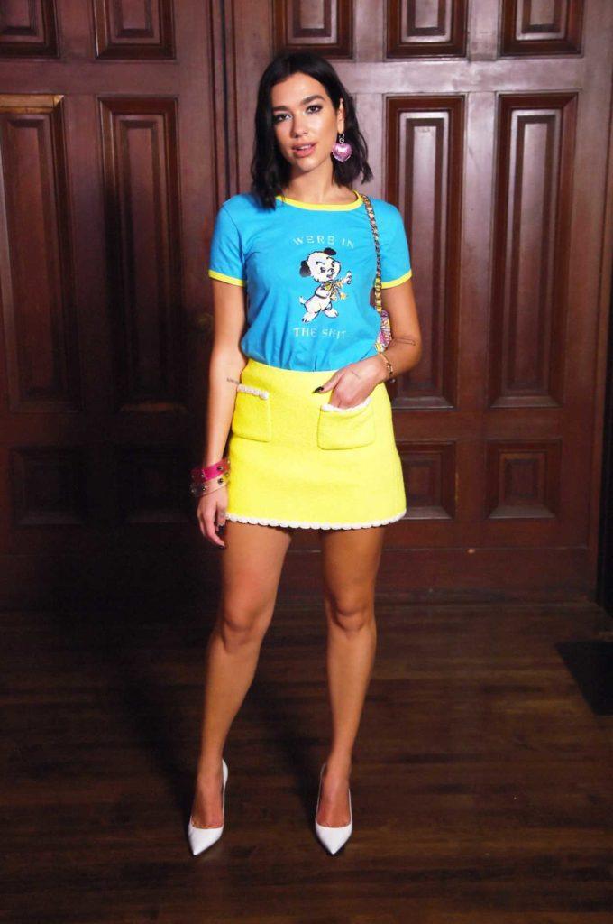 Dua Lipa in a Yellow Skirt