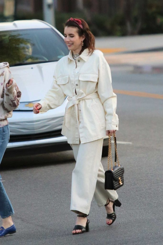 Emma Roberts in a White Suit