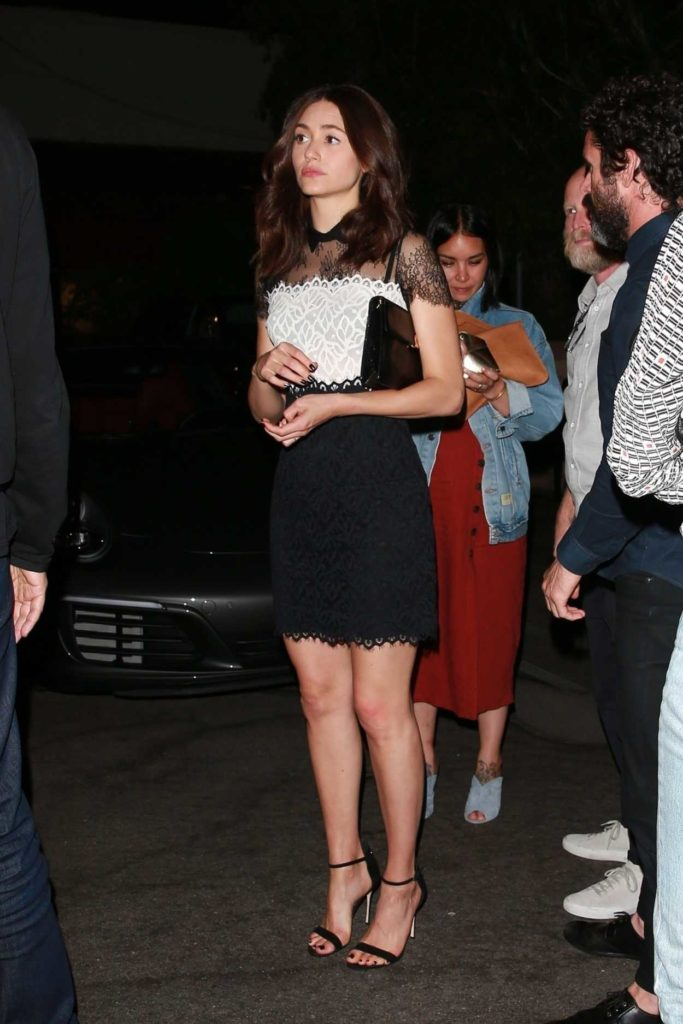 Emmy Rossum in a Black and White Dress