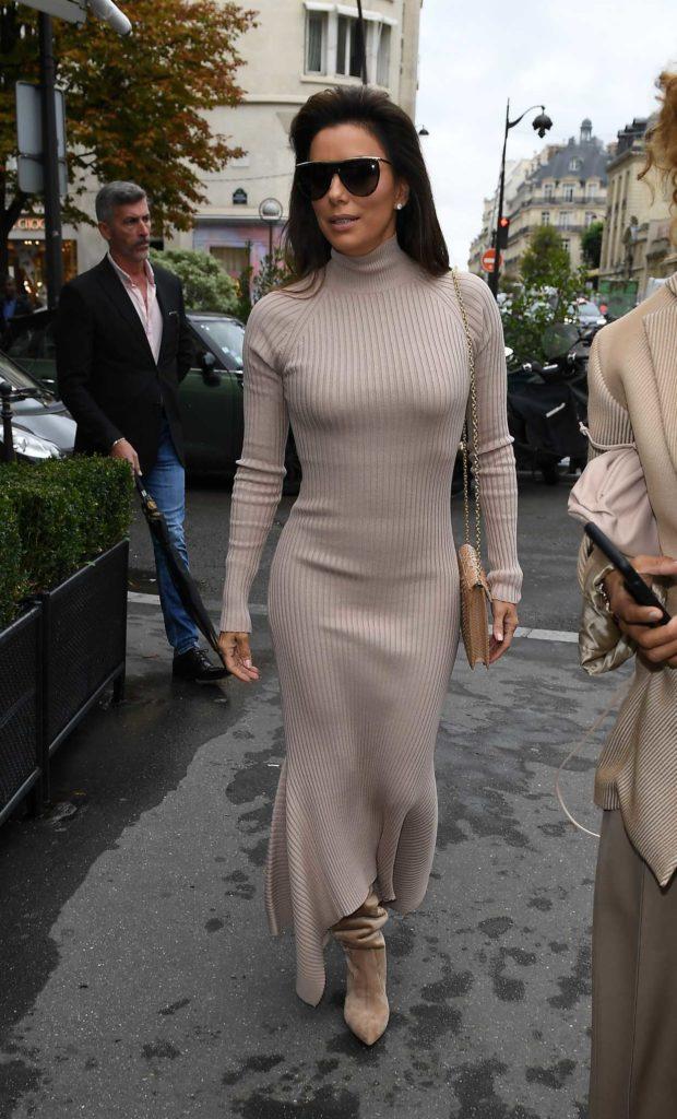 Eva Longoria in a Beige Dress