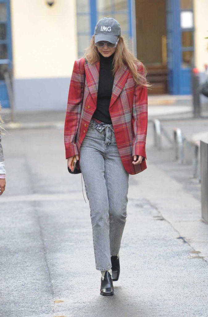 Gigi Hadid in a Red Plaid Blazer