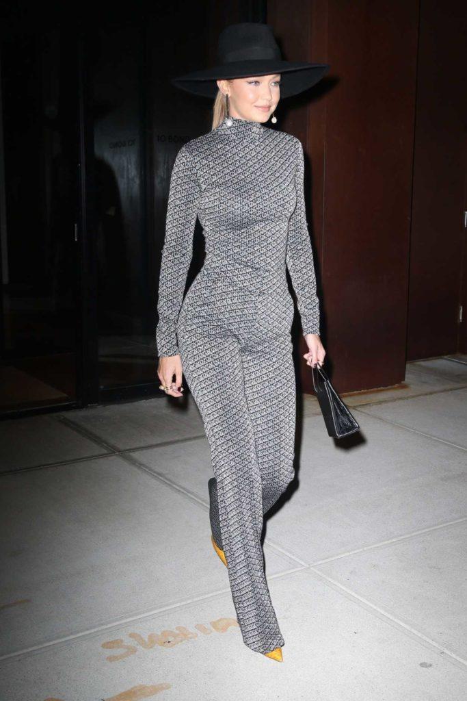 Gigi Hadid in a Silvery Grey Suit